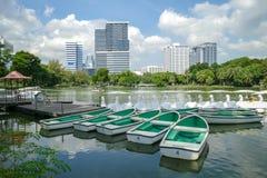 Lumpini公园湖视图在曼谷 库存图片