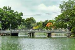 Lumpini公园看法  免版税图库摄影