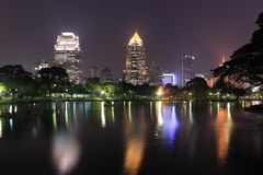 Lumpini Park, Bangkok, Thailand. Night view of Bangkok from Lumpini Park, Bangkok, Thailand Stock Images