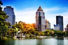 Lumpini Park in Bangkok, Thailand. modern city skyscraper Royalty Free Stock Photo