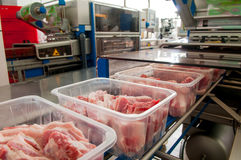 Lumps of meat in a container Stock Images