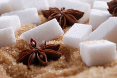 Lumps of white sugar Stock Photo