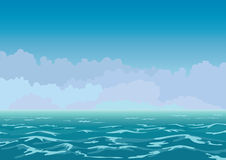 Lumpy sea. Panorama view of the restless sea and clouds Vector Illustration