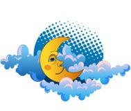 Luna amarilla que duerme en las nubes Imagen de archivo libre de regalías