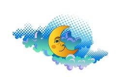 Luna amarilla que duerme en las nubes Imagen de archivo