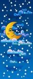 Luna amarilla que duerme en las nubes Fotos de archivo libres de regalías
