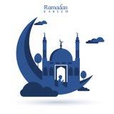 luna azul 3D con la mezquita para el Ramadán Fotografía de archivo libre de regalías