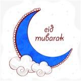 Luna blu con le nuvole per la celebrazione di Eid Mubarak Fotografia Stock