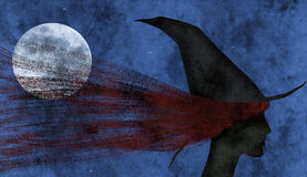 Luna cogida en el pelo de la bruja Fotografía de archivo libre de regalías