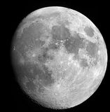 Luna con el cielo nocturno del telescopio Fotografía de archivo