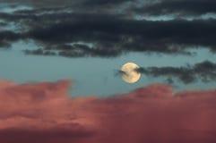 Luna con le nubi Immagini Stock Libere da Diritti