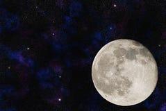 Luna con le numerose galassie Fotografia Stock