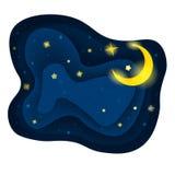 Luna con le stelle su cielo notturno Illustrazione Vettoriale