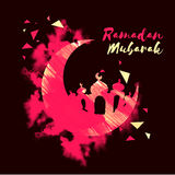 Luna creativa con la mezquita para Ramadan Mubarak Fotos de archivo libres de regalías