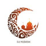 Luna creciente adornada con el zentangle para el festival de comunidad musulmán Eid Al Fitr Mubarak foto de archivo