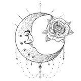 Luna crescente, fiore rosa, la geometria sacra Florida del tatuaggio di Blackwork royalty illustrazione gratis