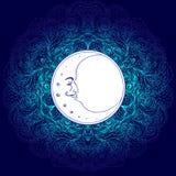 Luna crescente sopra la mandala variopinta Isolato dell'illustrazione di vettore illustrazione vettoriale