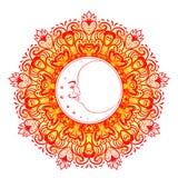 Luna crescente sopra la mandala variopinta Isolato dell'illustrazione di vettore royalty illustrazione gratis