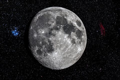Luna dal telescopio Fotografie Stock Libere da Diritti