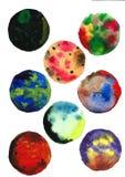 Luna de la acuarela, arte abstracto, elementos redondos, texturas ilustración del vector
