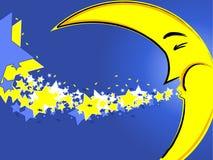 Luna de la noche con las estrellas Imagen de archivo libre de regalías