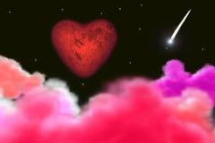 Luna de la tarjeta del día de San Valentín Imagen de archivo libre de regalías