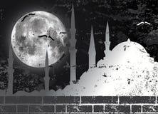 Luna de la trama e ilustración de la mezquita Fotografía de archivo libre de regalías