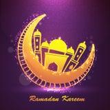 Luna de oro con la mezquita para Ramadan Kareem Fotos de archivo libres de regalías