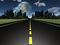 Luna de Terraformed según lo visto de la carretera en la tierra Imágenes de archivo libres de regalías