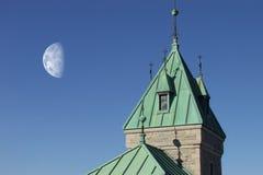 Luna del castello Fotografia Stock