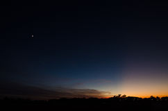 Luna del cielo notturno Fotografie Stock Libere da Diritti