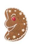 Luna del pan di zenzero di Natale isolata su un fondo bianco Immagine Stock Libera da Diritti