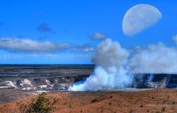 Luna del vulcano di Kilauea Fotografia Stock Libera da Diritti
