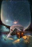 Luna di alba del cielo stellato di notte Fotografia Stock
