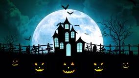 Luna di Halloween sopra il castello in ciano cielo illustrazione di stock