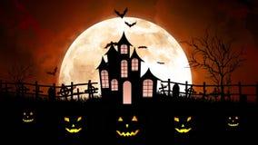 Luna di Halloween sopra il castello in cielo arancio illustrazione di stock