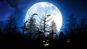 Luna di Halloween sopra il cimitero in cielo blu illustrazione vettoriale