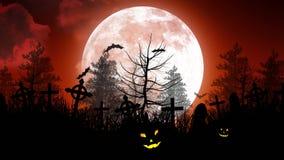 Luna di Halloween sopra il cimitero in cielo rosso illustrazione di stock