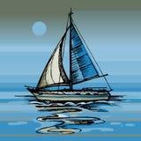 Luna di notte sull'yacht del mare che fa galleggiare la superficie dell'acqua Fotografie Stock Libere da Diritti