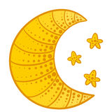 Luna di scarabocchio con le stelle Immagini Stock