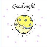 Luna di sonno in berretto da notte isolato su fondo bianco Mezzaluna con le stelle Fotografie Stock