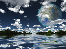 Luna di Terraformed da terra o dall'altro pianeta Fotografia Stock Libera da Diritti