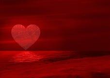 Luna di vetro del cuore Fotografia Stock