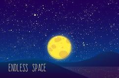 Luna di vettore di notte, stelle brillanti su cielo blu Fotografia Stock