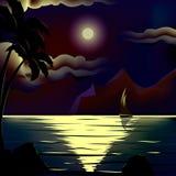 Luna di vettore sopra il mare freddo di notte royalty illustrazione gratis