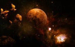 Luna dopo impatto della meteora Fotografia Stock