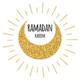 Luna dorata luminosa crescente per il mese santo della Comunità musulmana, celebrazione di Ramadan Kareem Fotografia Stock Libera da Diritti