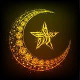 Luna dorata, testo arabo e stella per Eid Mubarak Fotografia Stock
