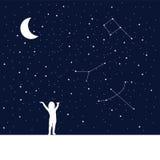Luna e bambino di sogno Idea di concetto Fotografia Stock Libera da Diritti
