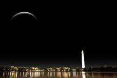 Luna e città Elementi di questa illustrazione ammobiliata dalla NASA Immagini Stock